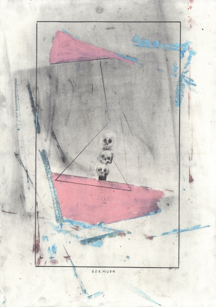 graphite and oil pastel on paper